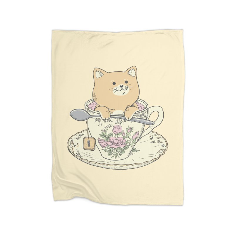 Tea Cat Time Home Blanket by Pepe Rodríguez