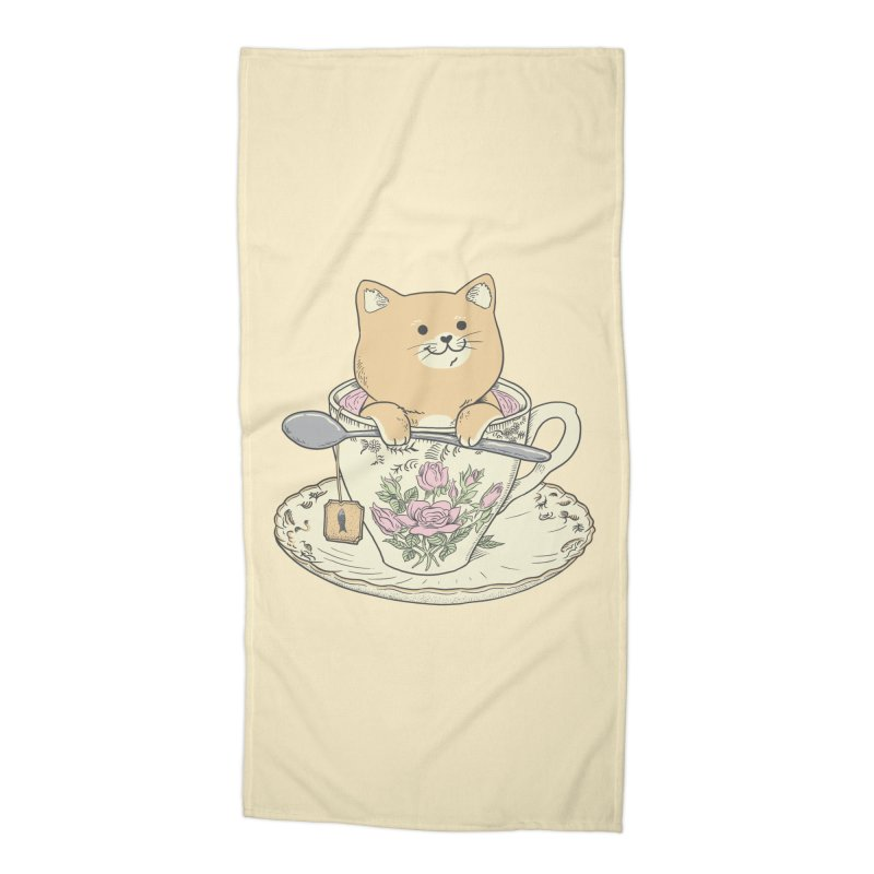 Tea Cat Time Accessories Beach Towel by Pepe Rodríguez