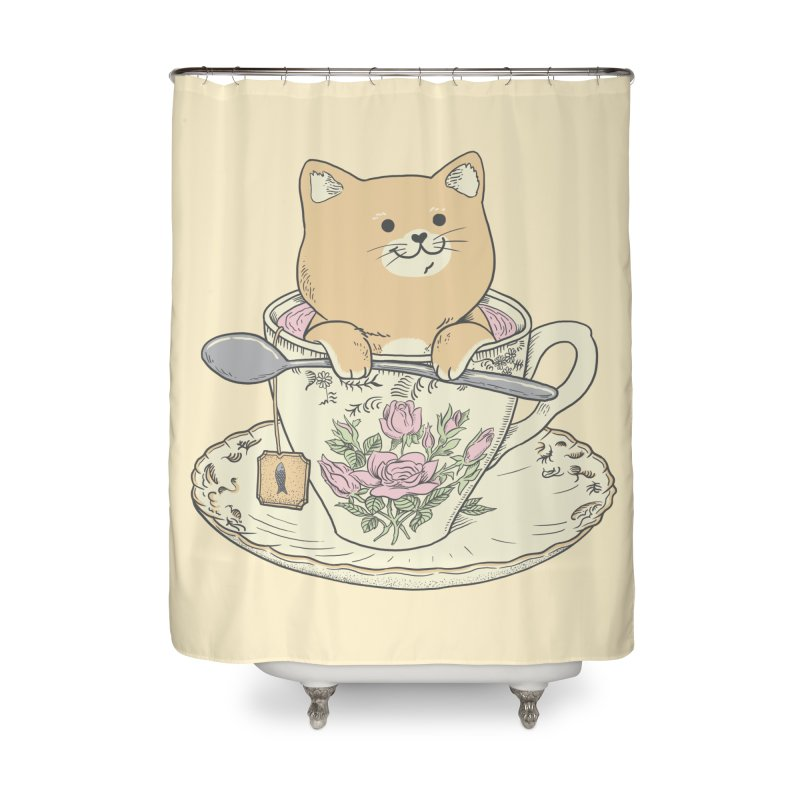 Tea Cat Time Home Shower Curtain by Pepe Rodríguez