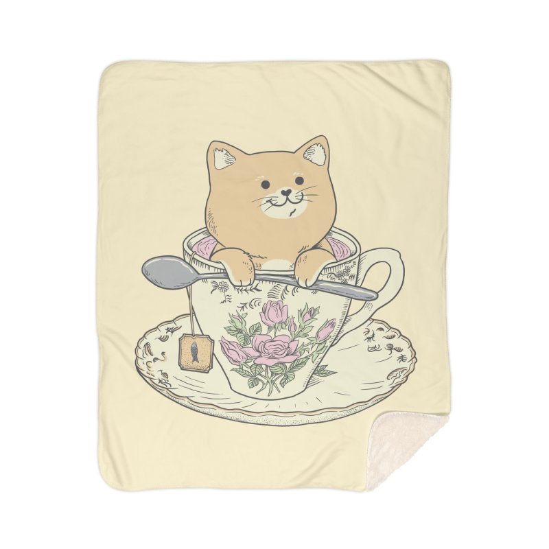Tea Cat Time Home Sherpa Blanket Blanket by Pepe Rodríguez