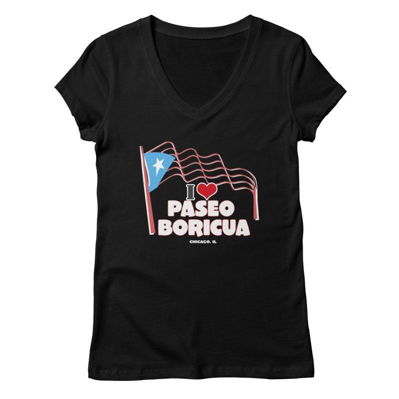 I LOVE PASEO BORICUA Women's Regular V-Neck by PRCC Tiendita