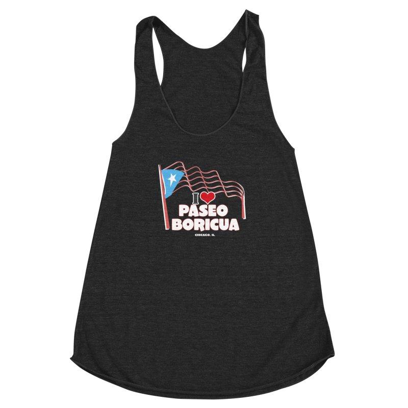 I LOVE PASEO BORICUA Women's Racerback Triblend Tank by PRCC Tiendita