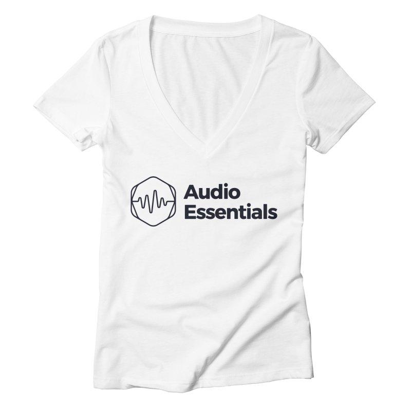 Audio Essentials Black Women's Deep V-Neck V-Neck by Precision Productions Artiste Shop