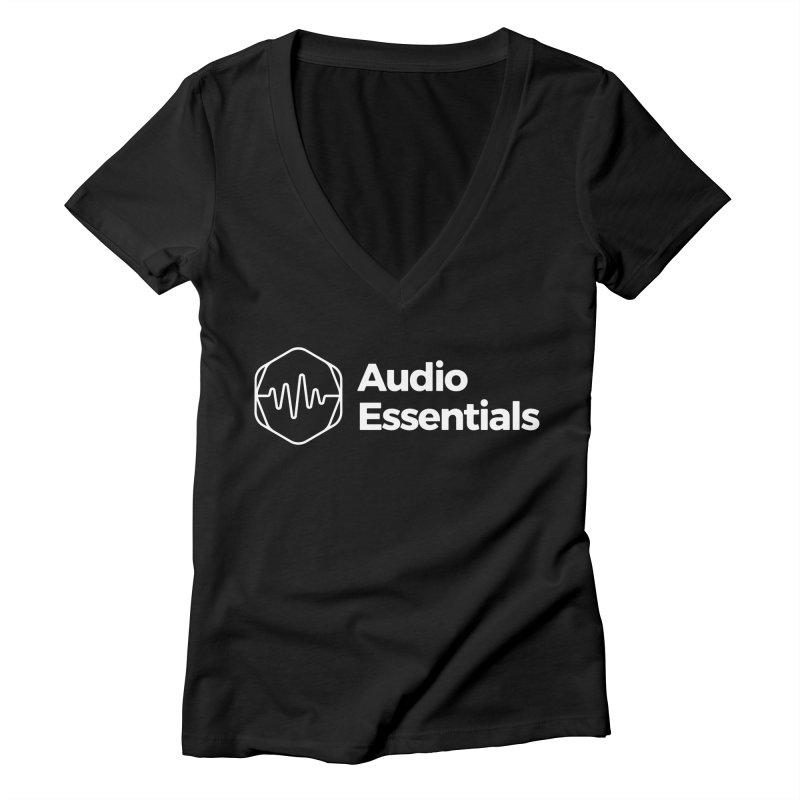 Audio Essentials White Women's V-Neck by Precision Productions Artiste Shop