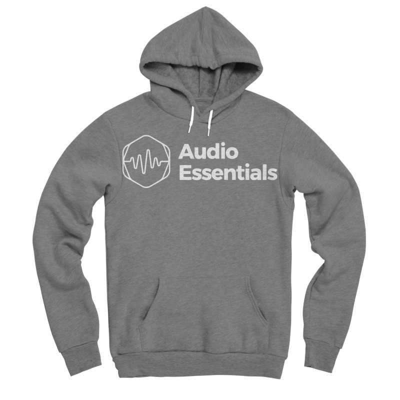 Audio Essentials White Men's Sponge Fleece Pullover Hoody by Precision Productions Artiste Shop