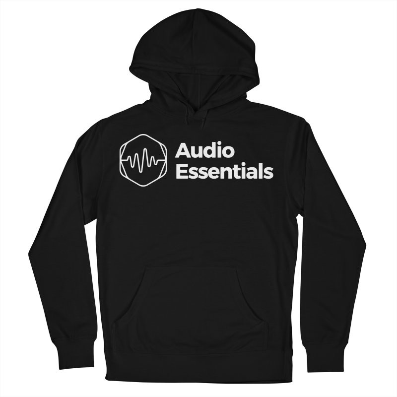 Audio Essentials White Men's French Terry Pullover Hoody by Precision Productions Artiste Shop