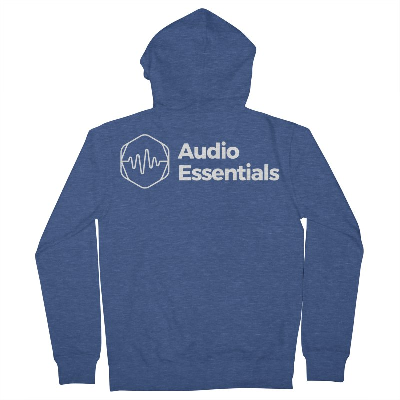 Audio Essentials White Men's French Terry Zip-Up Hoody by Precision Productions Artiste Shop