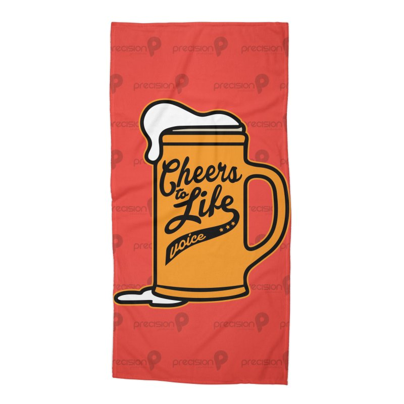 Cheers to Life in Beach Towel by Precision Productions Artiste Shop
