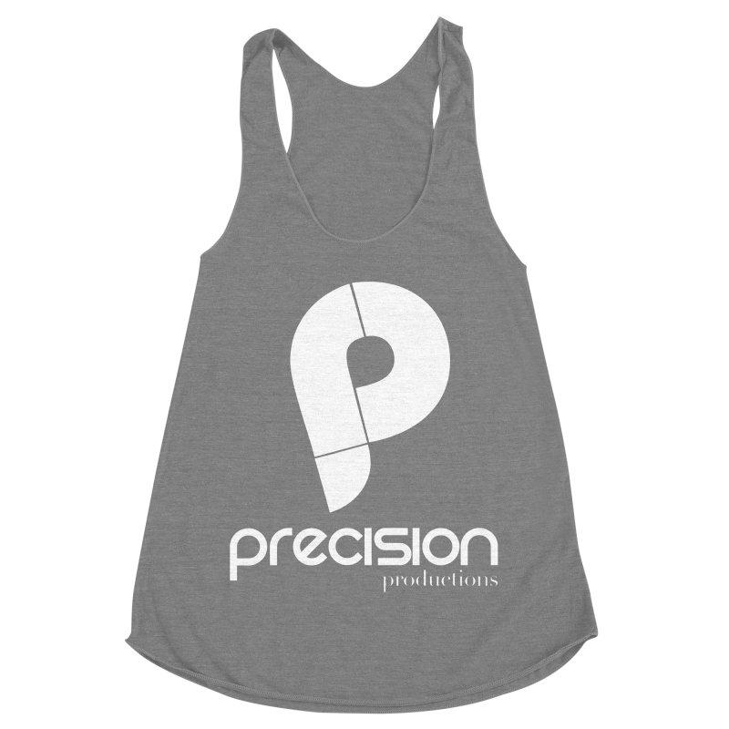 Precision P (white) Women's Racerback Triblend Tank by Precision Productions Artiste Shop