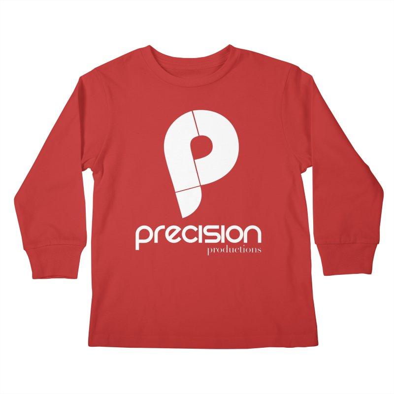 Precision P (white) Kids Longsleeve T-Shirt by Precision Productions Artiste Shop