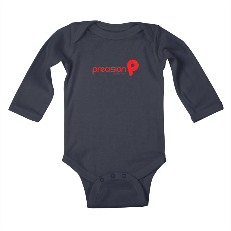 Precision Logo (Red) Kids Baby Longsleeve Bodysuit by Precision Productions Artiste Shop