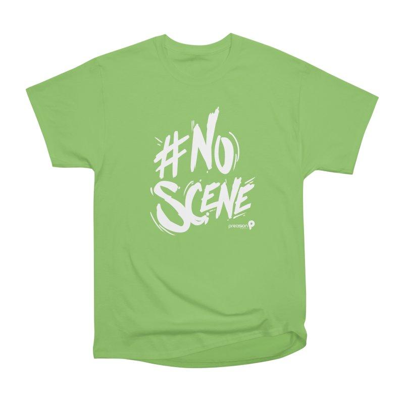 No Scene (White) Women's Heavyweight Unisex T-Shirt by Precision Productions Artiste Shop
