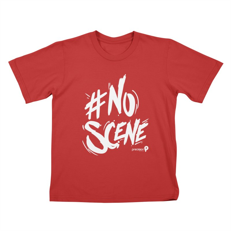 No Scene (White) Kids T-Shirt by Precision Productions Artiste Shop
