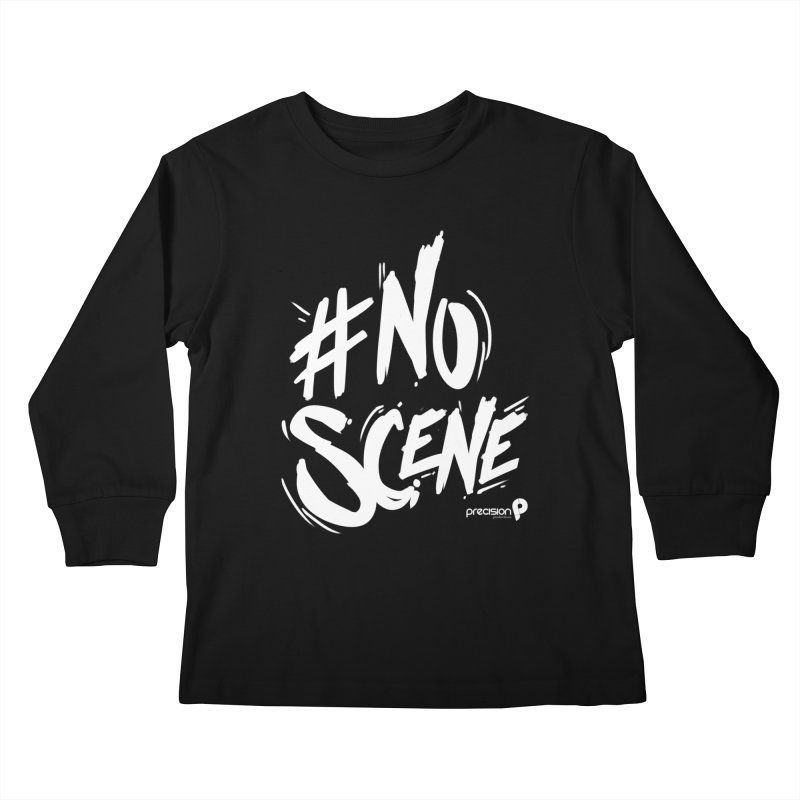 No Scene (White) Kids Longsleeve T-Shirt by Precision Productions Artiste Shop