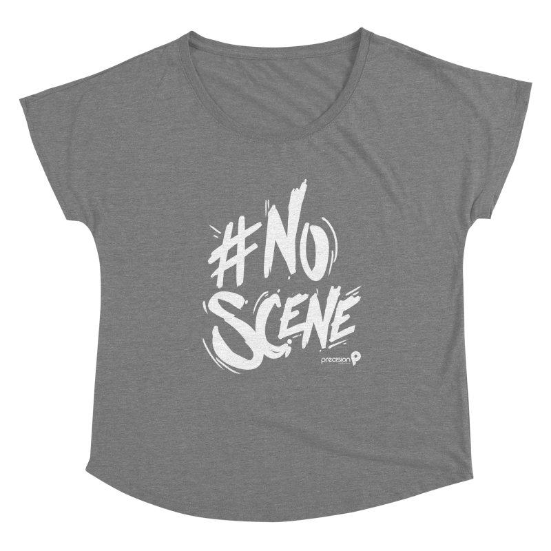 No Scene (White) Women's Scoop Neck by Precision Productions Artiste Shop