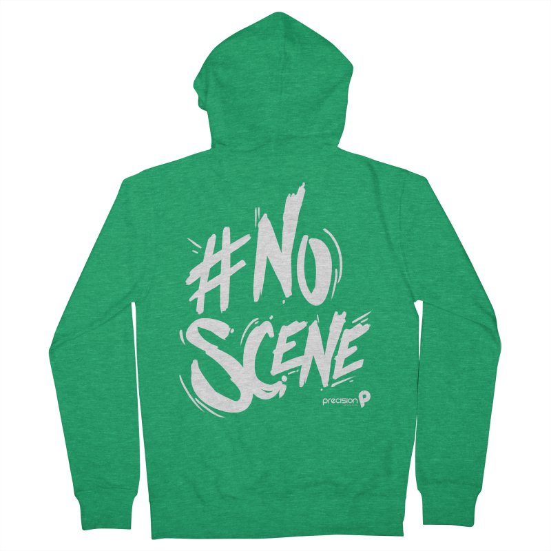 No Scene (White) Men's Zip-Up Hoody by Precision Productions Artiste Shop