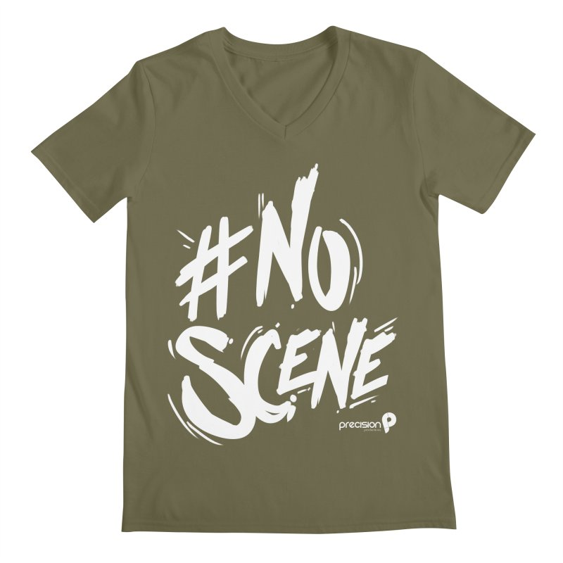 No Scene (White) Men's V-Neck by Precision Productions Artiste Shop