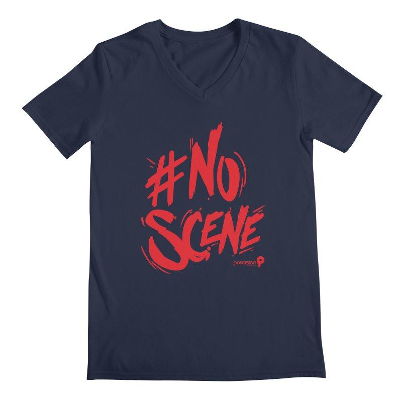 No Scene (Red) Men's V-Neck by Precision Productions Artiste Shop