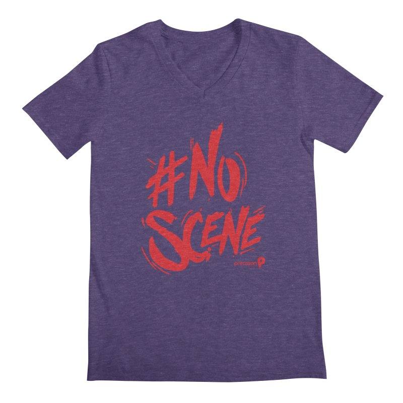 No Scene (Red) Men's V-Neck by Precision Productions Artiste Shop