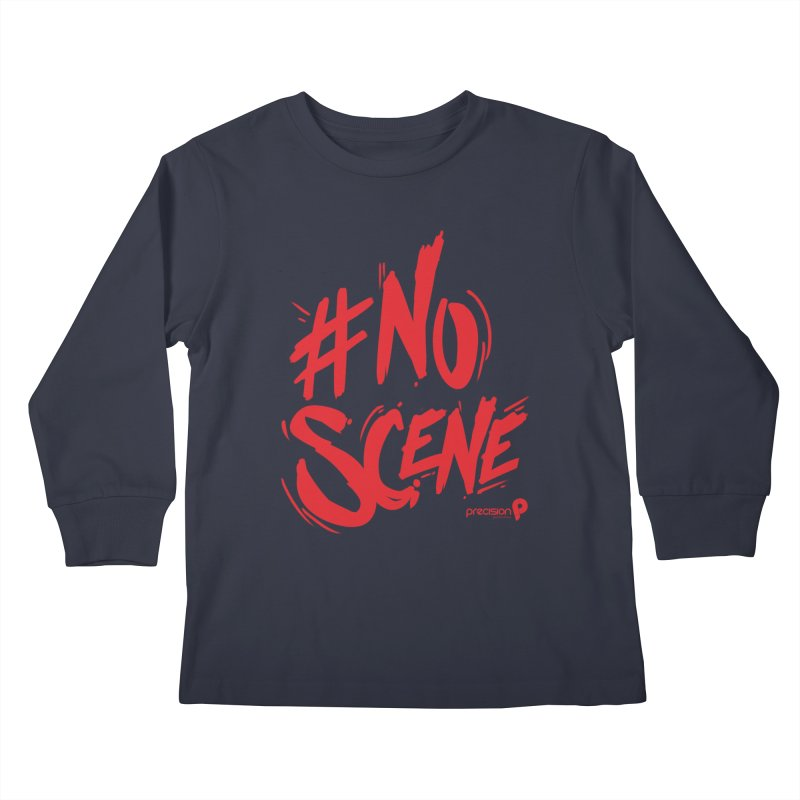 No Scene (Red) Kids Longsleeve T-Shirt by Precision Productions Artiste Shop