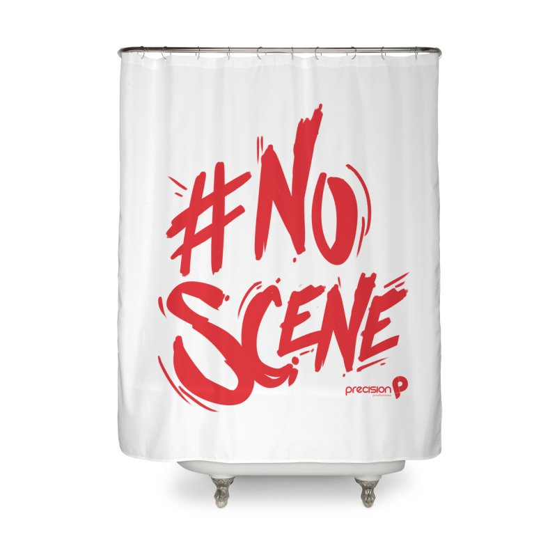 No Scene (Red) Home Shower Curtain by Precision Productions Artiste Shop