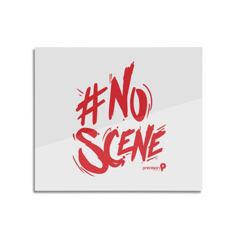 No Scene (Red) Home Mounted Aluminum Print by Precision Productions Artiste Shop