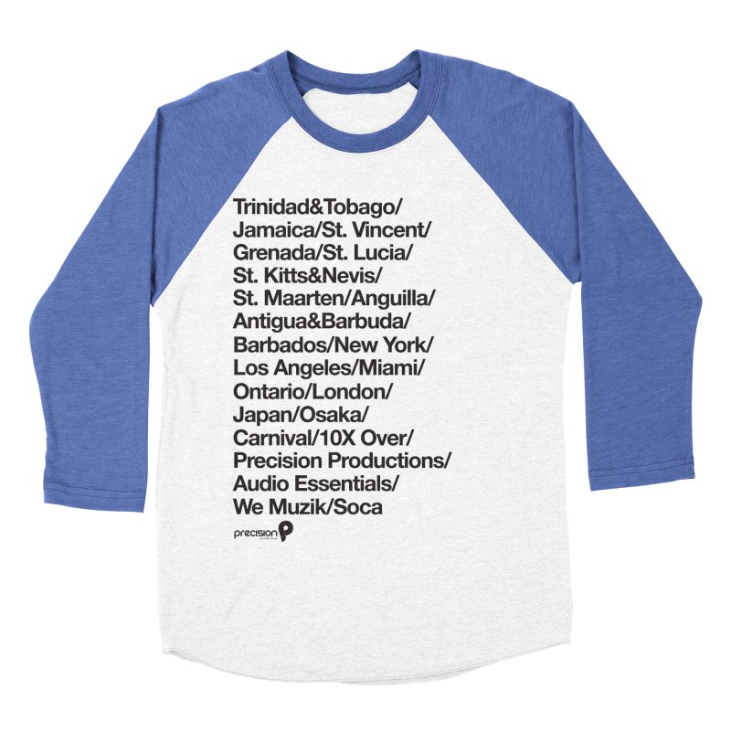 Countries Tee! Women's Baseball Triblend Longsleeve T-Shirt by Precision Productions Artiste Shop