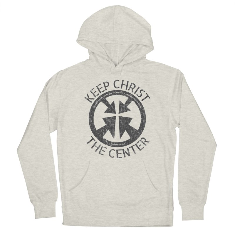 Keep Christ the Center - Charcoal Men's French Terry Pullover Hoody by Presley Design Studio Shop