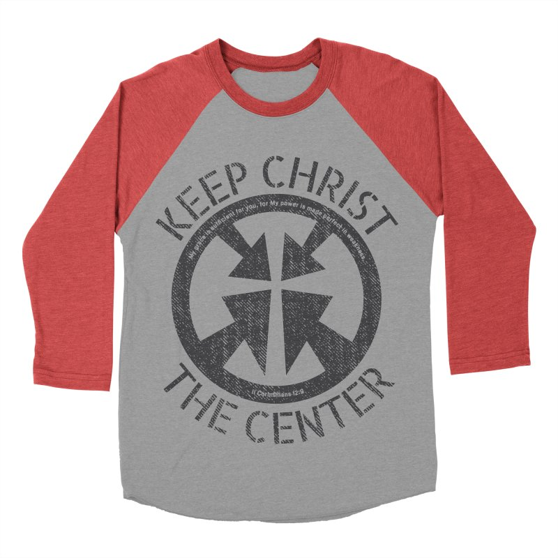 Keep Christ the Center - Charcoal Men's Baseball Triblend Longsleeve T-Shirt by Presley Design Studio Shop