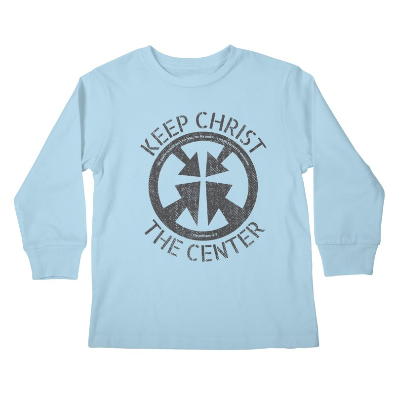 Keep Christ the Center - Charcoal Kids Longsleeve T-Shirt by Presley Design Studio Shop