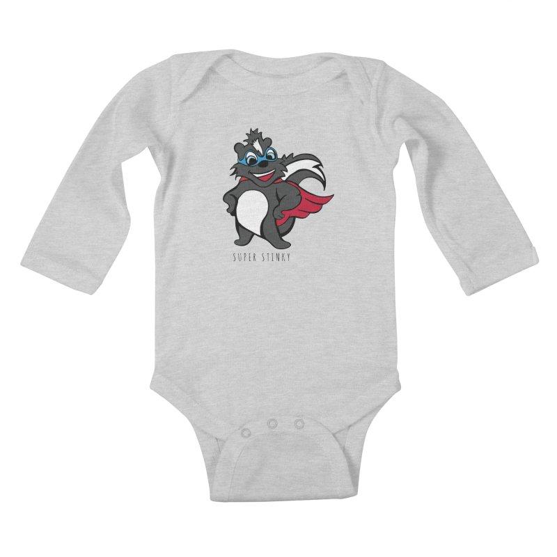 Super Hero Stinky Skunk Kids Baby Longsleeve Bodysuit by Presley Design Studio Shop