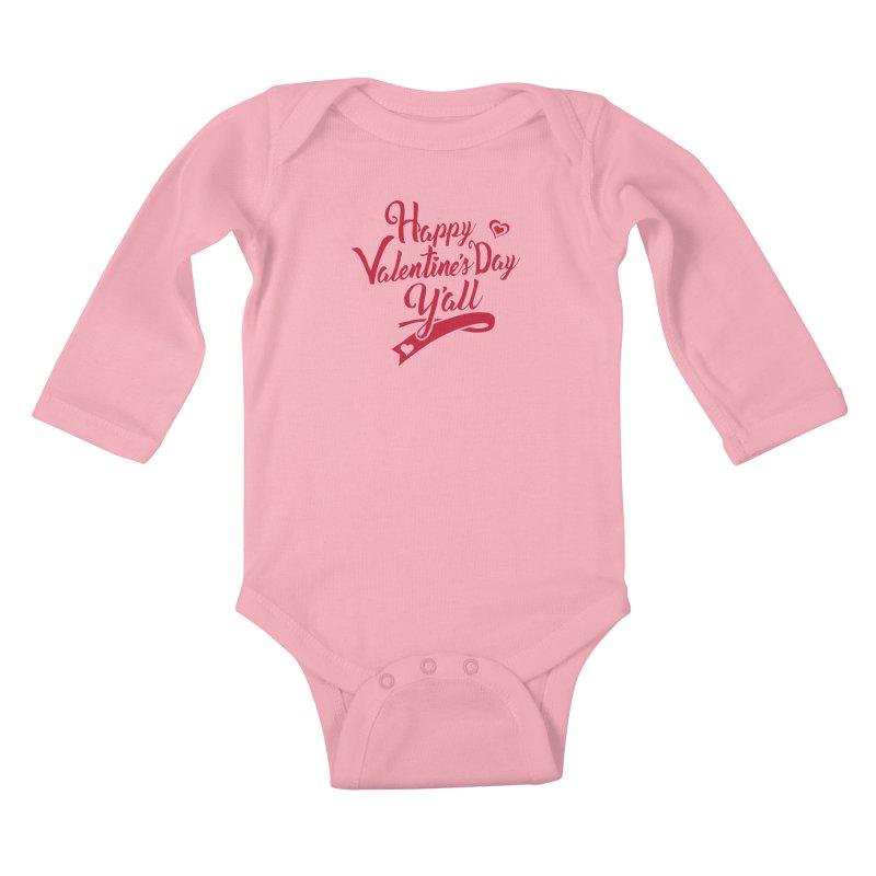 Happy Valentine's Day Ya'll Kids Baby Longsleeve Bodysuit by Presley Design Studio Shop