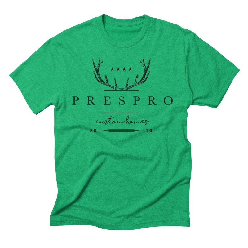 ANTLERS-BLACK INK Men's Triblend T-Shirt by PRESPRO CUSTOM HOMES