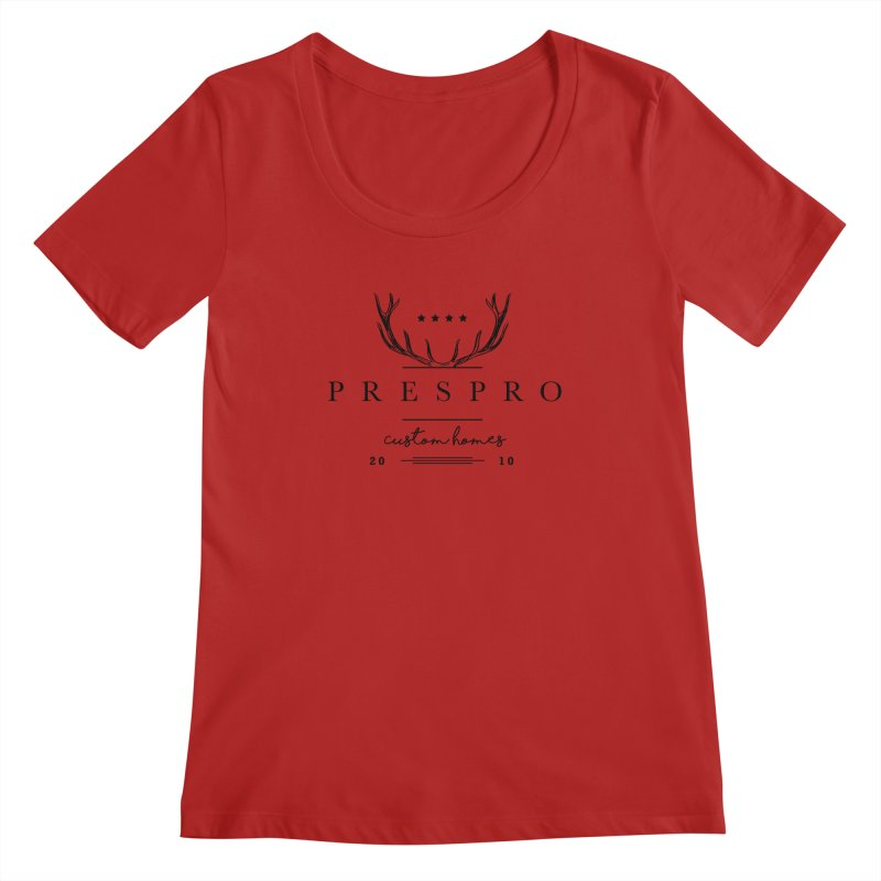 ANTLERS-BLACK INK Women's Scoopneck by PRESPRO CUSTOM HOMES