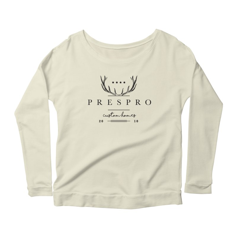 ANTLERS-BLACK INK Women's Scoop Neck Longsleeve T-Shirt by PRESPRO CUSTOM HOMES