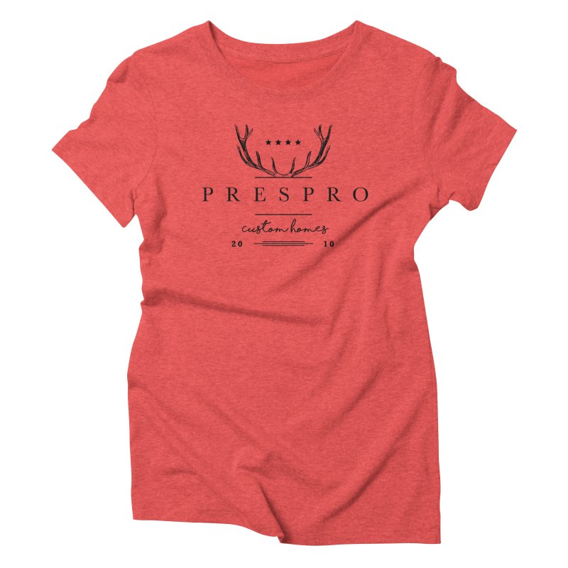 ANTLERS-BLACK INK Women's Triblend T-Shirt by PRESPRO CUSTOM HOMES