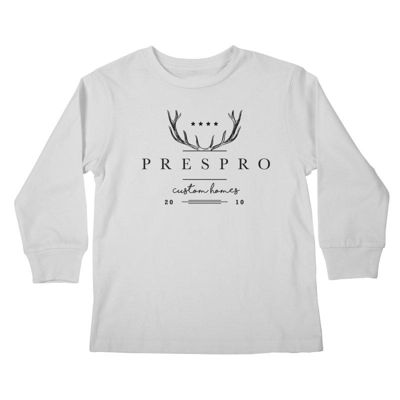 ANTLERS-BLACK INK Kids Longsleeve T-Shirt by PRESPRO CUSTOM HOMES