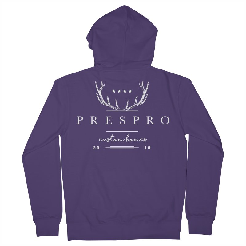 ANTLERS-WHITE INK Women's French Terry Zip-Up Hoody by PRESPRO CUSTOM HOMES