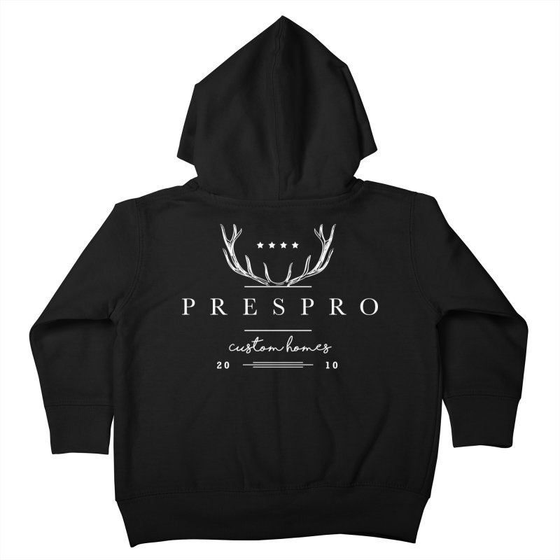 ANTLERS-WHITE INK Kids Toddler Zip-Up Hoody by PRESPRO CUSTOM HOMES