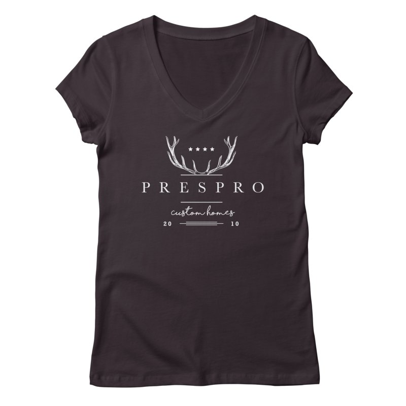 ANTLERS-WHITE INK Women's V-Neck by PRESPRO CUSTOM HOMES
