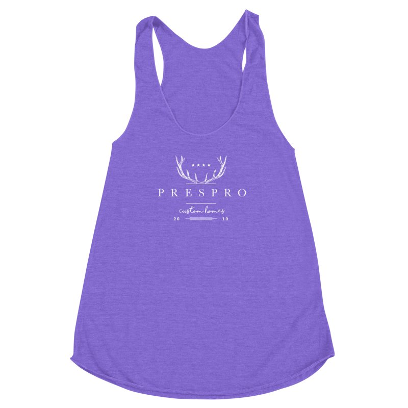 ANTLERS-WHITE INK Women's Racerback Triblend Tank by PRESPRO CUSTOM HOMES