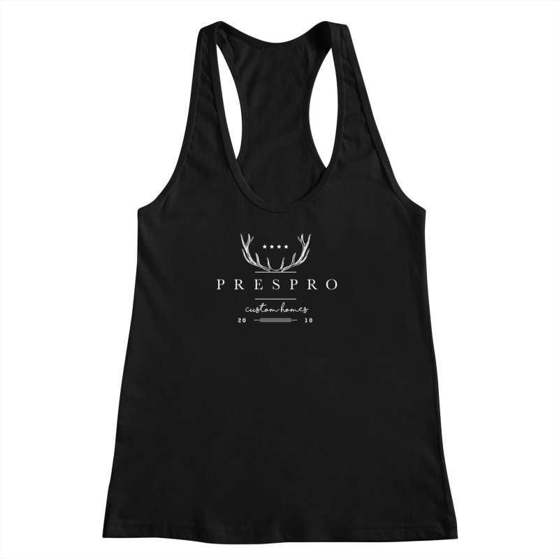 ANTLERS-WHITE INK Women's Racerback Tank by PRESPRO CUSTOM HOMES