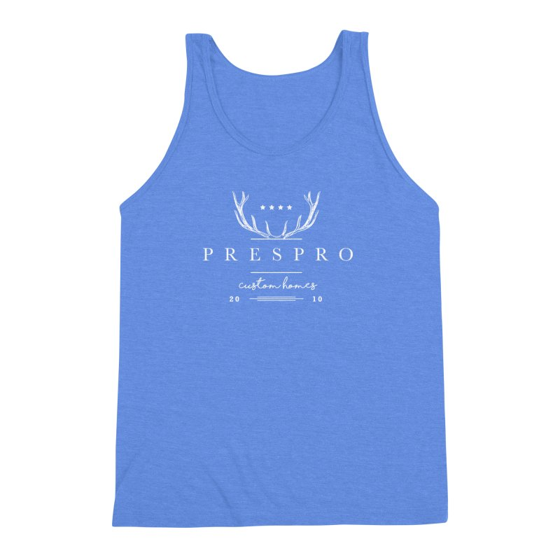 ANTLERS-WHITE INK Men's Triblend Tank by PRESPRO CUSTOM HOMES
