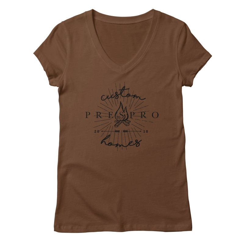 FIRE-BLACK INK Women's Regular V-Neck by PRESPRO CUSTOM HOMES