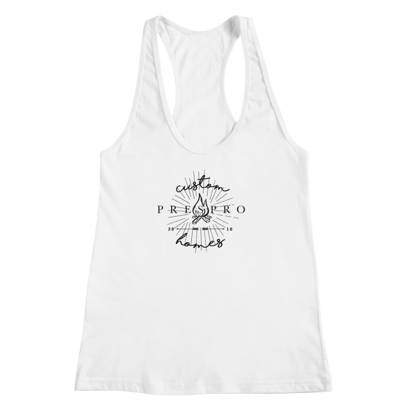 FIRE-BLACK INK Women's Racerback Tank by PRESPRO CUSTOM HOMES
