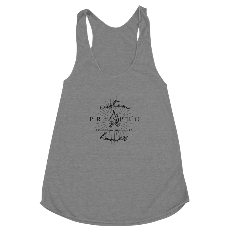 FIRE-BLACK INK Women's Racerback Triblend Tank by PRESPRO CUSTOM HOMES