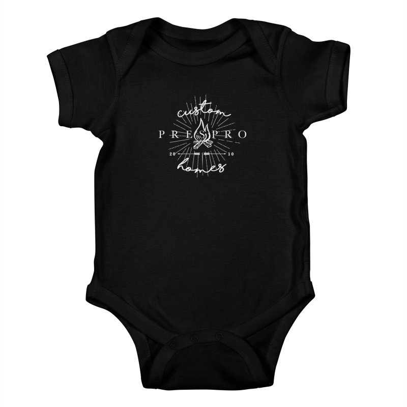 FIRE-WHITE INK Kids Baby Bodysuit by PRESPRO CUSTOM HOMES