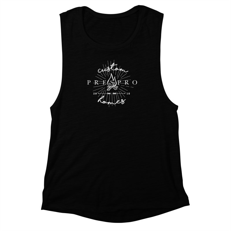 FIRE-WHITE INK Women's Muscle Tank by PRESPRO CUSTOM HOMES