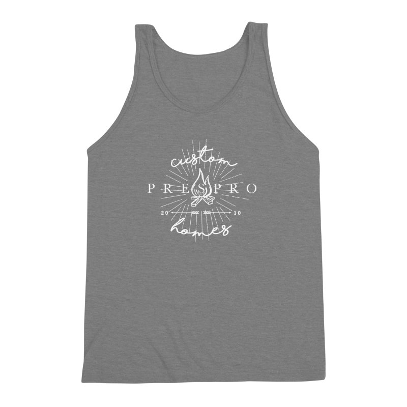 FIRE-WHITE INK Men's Triblend Tank by PRESPRO CUSTOM HOMES