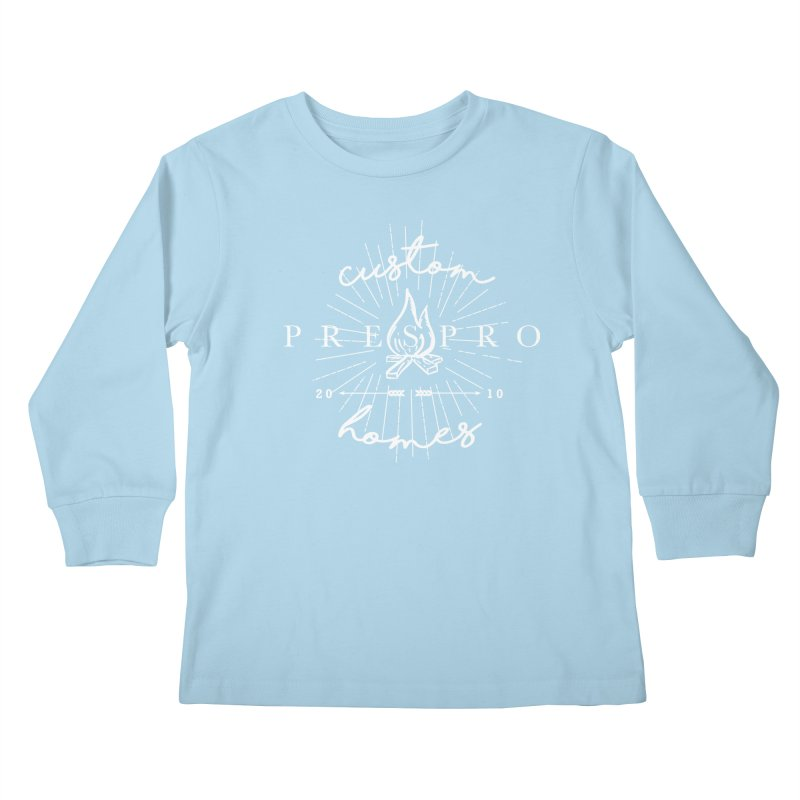 FIRE-WHITE INK Kids Longsleeve T-Shirt by PRESPRO CUSTOM HOMES